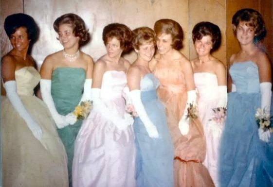 1960s Prom – Shorter hair and bigger dresses, but same pastel hues!